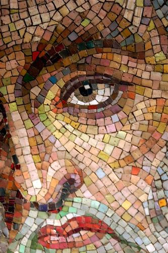 Mosaic Face Detail, Cathedral of St. Louis, St. Louis MO. Great use of color in a portrait.Love the light blue and orange bits on the cheek.