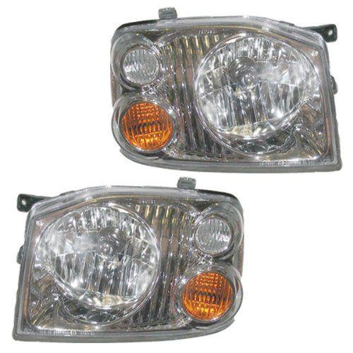 01-04 Nissan Frontier XE Pickup Truck Headlights Headlamps Lights Lamps Pair Set