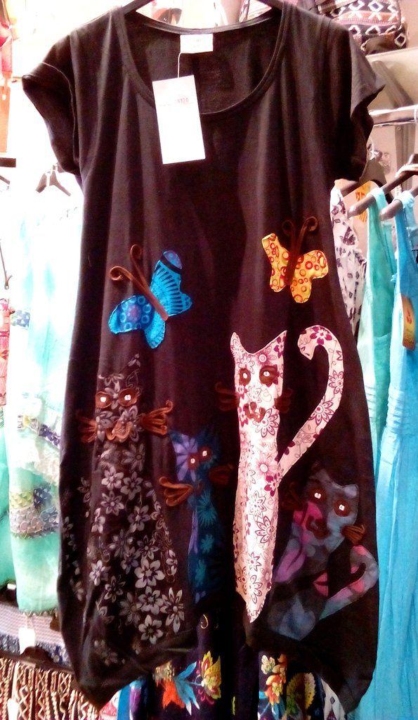 Φόρεμα patchwork με σχέδιο γατούλες
