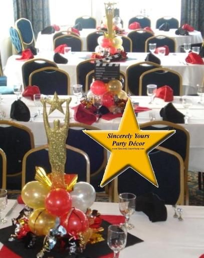 Hollywood centerpieces triad balloon bridal shower for Balloon decoration ideas for sweet 16