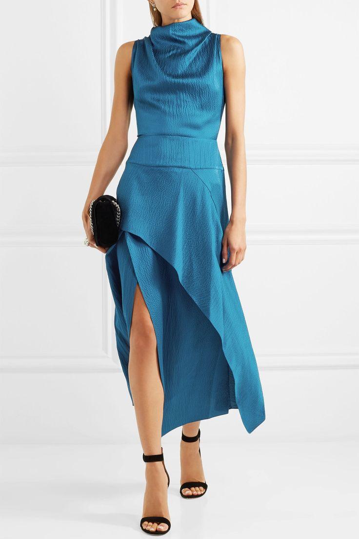 roland mouret allerston asymmetric hammered silk satin dress