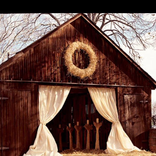Fall wedding ideas -curtains on the barn..