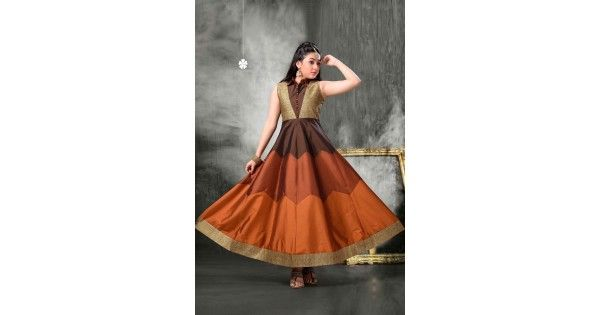 Girls Coffe Color Tapeta Gown Anarkali Style