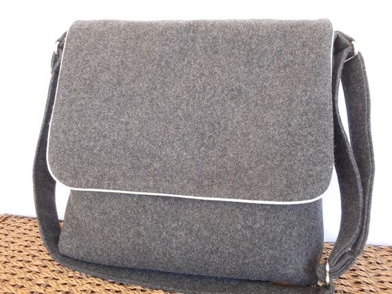 Women's large messenger bag in charcoal grey  Pendleton wool. Handmade by RiverPurseWorks on Etsy