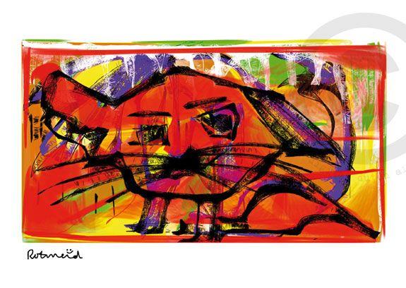 Rode kater gemaakt door Rotmeid. Rotmeid is een Delftse kunstenaar en maakt haar illustraties digitaal. Ze schildert als het ware op een beeldscherm.