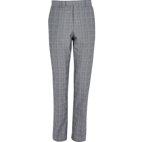 River Island Grey check slim fit suit trousers (£40) ❤ liked on Polyvore featuring men's fashion, men's clothing, men's pants, men's dress pants, suits, mens slim fit pants, tall mens dress pants, mens slim fit suit pants, mens checkered pants and mens slim dress pants