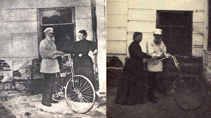 """Лев Николаевич с Софьей Андреевной, 1895г. В 67 лет Лев Николаевич Толстой научился ездить на велосипеде. """"За это время начал учиться в манеже ездить на велосипеде. Очень странно, зачем меня тянет делать это. Евгений Иванович отговаривал меня и огорчился, что я езжу, а мне не совестно. Напротив, чувствую, что тут есть естественное юродство, что мне все равно, что думают, да и просто безгрешно, ребячески веселит."""" (дневник Толстого 25 апреля, 1895)"""