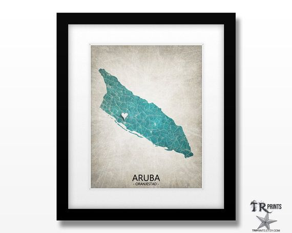 Aruba Map Art Print  Home Is Where The Heart Is Love by TRPrints