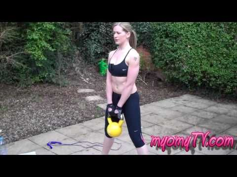 Strip the Fat - Kettlebell Workout w/ MK.  Skipping/Jump Rope, Kettlebell Sumo Deadlifts, Lizard Push-ups,  Alternating Kettlebell Swings, Kettlebell Single-leg Deadlift (right),   Kettlebell Single-leg Deadlift (left),   Jump Rope/Skipping, Plank Climber (alternate leading arm per round), Lunge Jumps and Kettlebell Front Raise & Rotation.  Interval 15/45, repeat once.