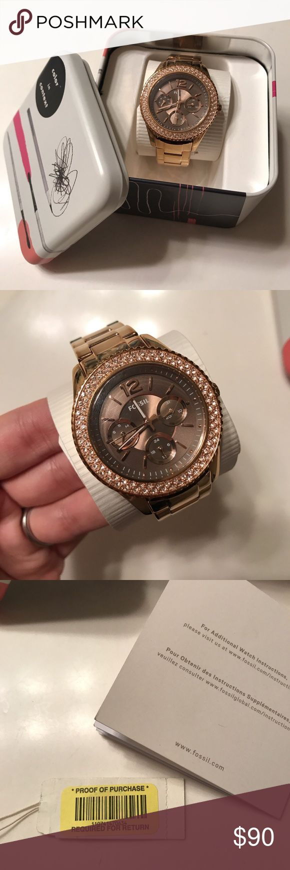 Authentic rose gold Fossil watch. I've had this watch for a little over a year and worn it maybe a few times. Minor wear and tear signs but nothing noticeable. Great condition and fully functional. Selling because I don't wear it enough. Original price $135. Fossil Accessories Watches