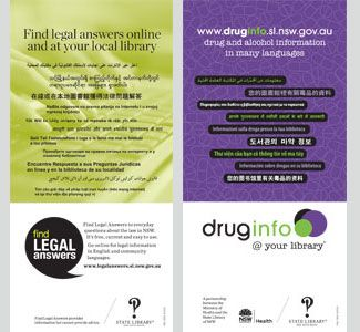 Multicultural DL card (drug info @ your library and Find Legal Answers)