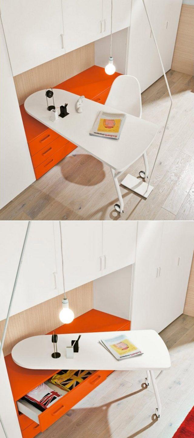 schreibtisch auf rollen-orange weiß-glanz oberfläche platzsparende-lösung
