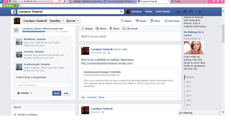 Sharing my e-portfolio on Facebook