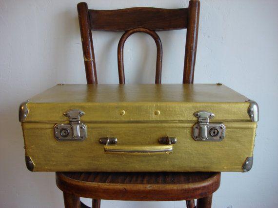 Vintage 50s fiber suitcase handiwork gold от OldMoscowVintage