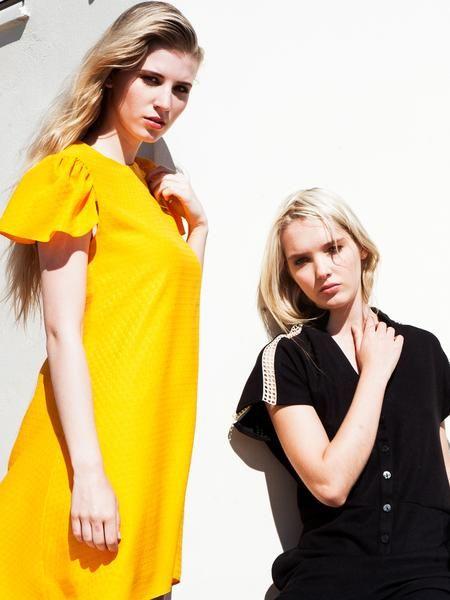 Beautiful A-line yellow girly dress / short flare sleeve / Elegant black jumpsuit / signature net details