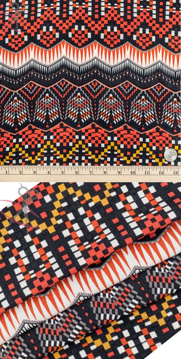 A huge range of colors come together to create our Digital Geometric Aztec Design in burgundy. In this print, off white, black, orange, deep yellow and silver are all utilized.