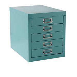 A4 5 Drawer Mini Filing Unit Blue