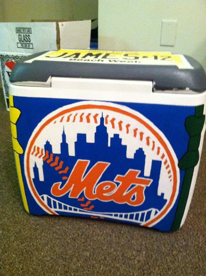 mets logo painted cooler side found on cooler connection