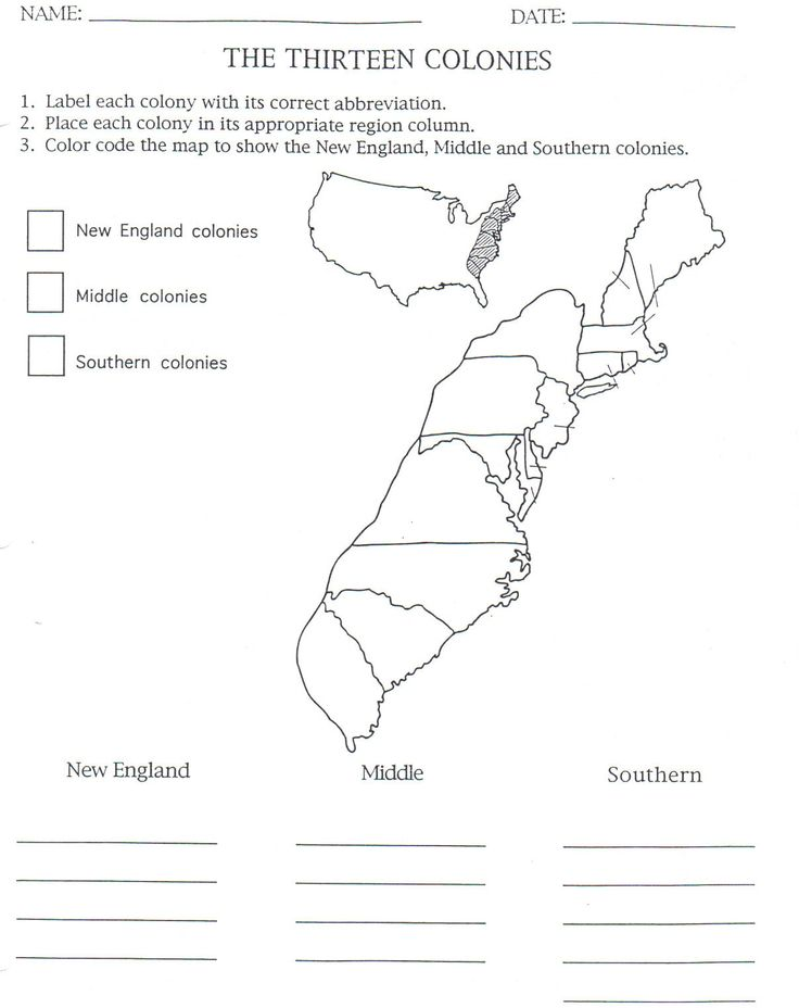 13 colonies map to color and label, although notice that they have Maine listed as one of them.  This isn't correct.  I just crossed it out, although my son knew it was wrong.  :op