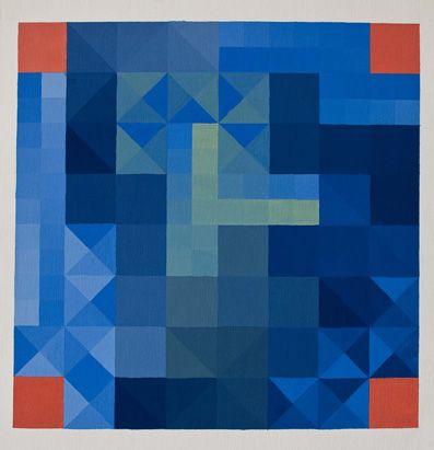 Tavola di pentamini con colori freddi con i quadrati divisi da diagonali e mediane. Contrasti agli angoli con colori caldi.