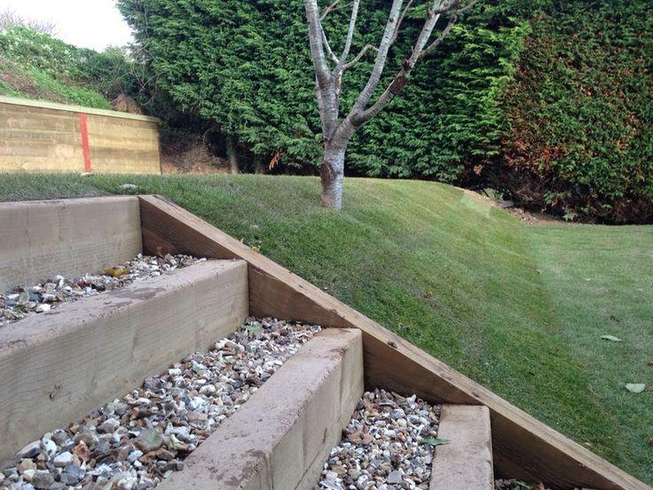 Love these sleeper gravel steps :-) Sleeper Steps,  with gravel  #landscaping #wood #sleepers
