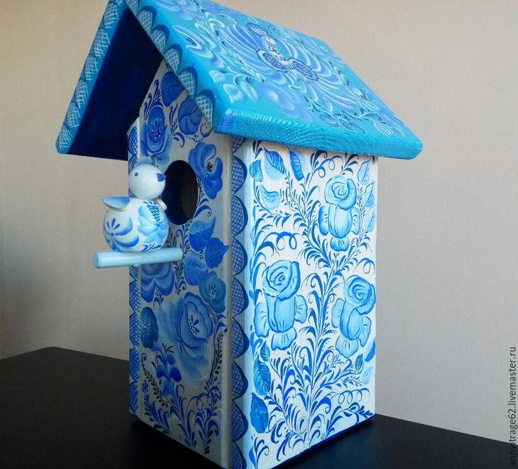 """Купить Скворечник с птичкой """" Гжель"""" - бирюзовый, скворечник, дом для птиц, Роспись по дереву"""