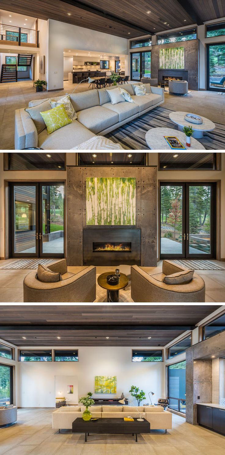 This contemporary home has an open floor plan on the main level, with the lounge, sitting area / fireplace, dining and kitchen all sharing the same space, ideal for a large family.