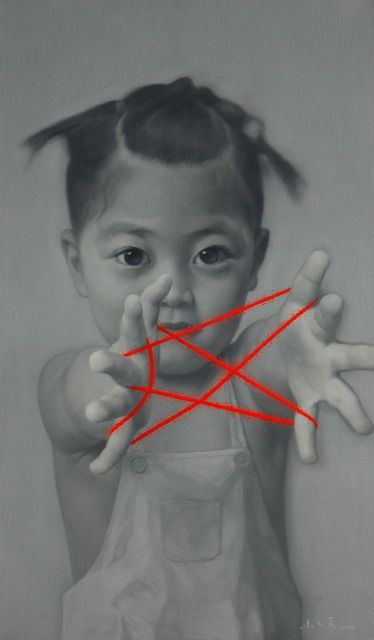Zhu Yiyong (b1957, Chongching, Sichuan Province, China) | His iconic 'MEMORIES OF CHINA', a monochrome series of oil portraits featuring people and kids playing cat's cradle with red string.