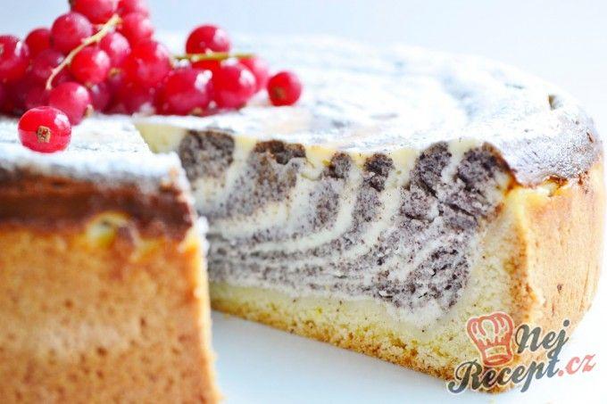 Makovo tvarohový zebra dort