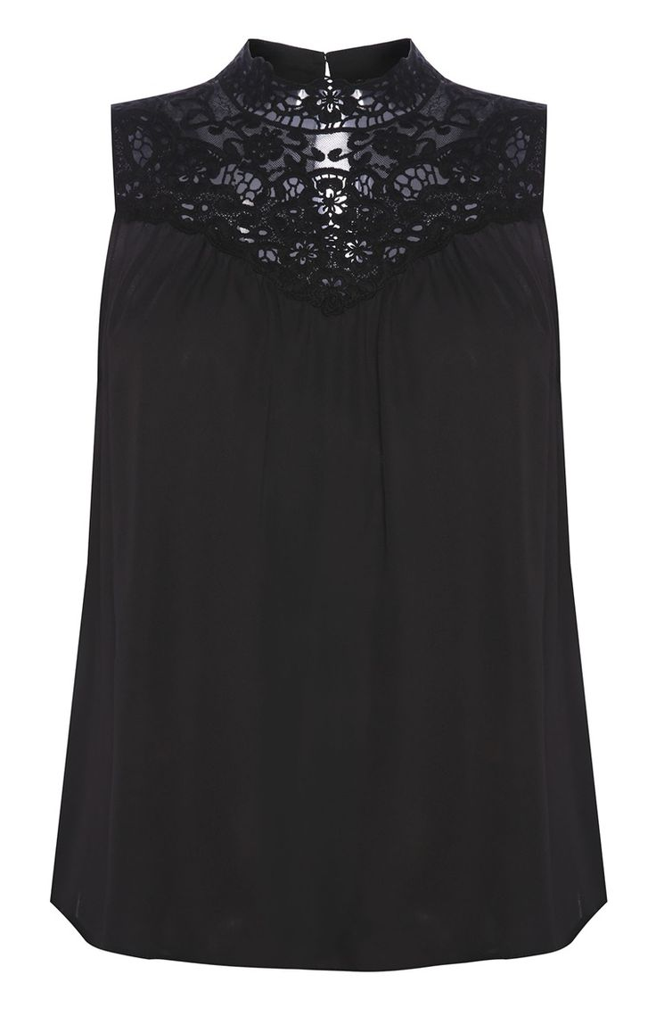 Primark - Blusa negra con cuello mao de crochet