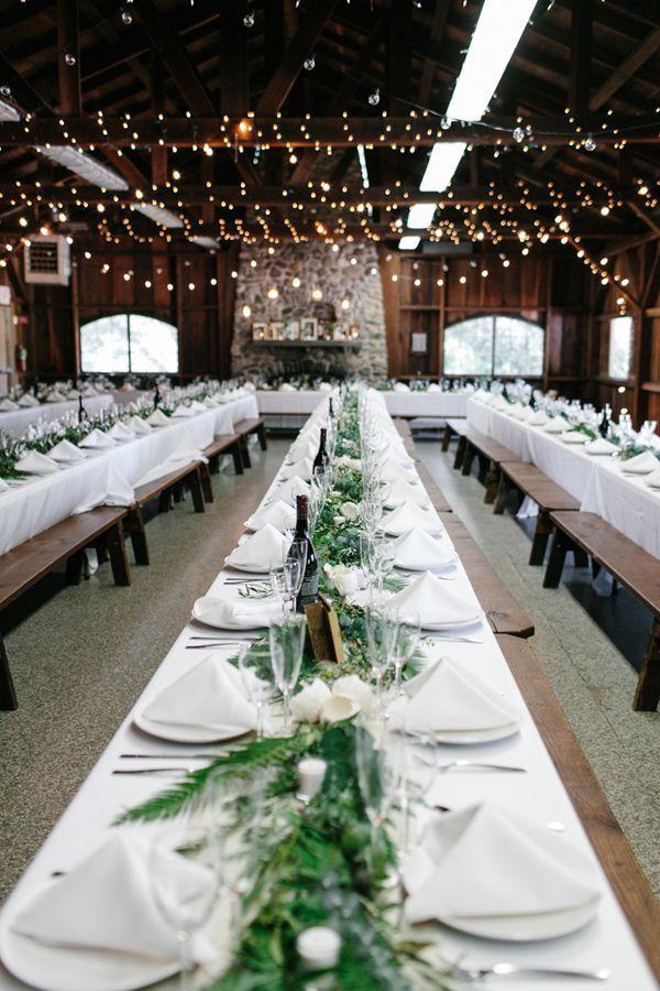 rustic reception tables - photo by Braedon Photography http://ruffledblog.com/camping-wedding-at-half-moon-bay