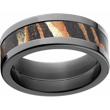Mossy Oak Shadow Grass Men's Camo Black Zirconium Ring with Polished Edges and Deluxe Comfort Fit, Size: 12