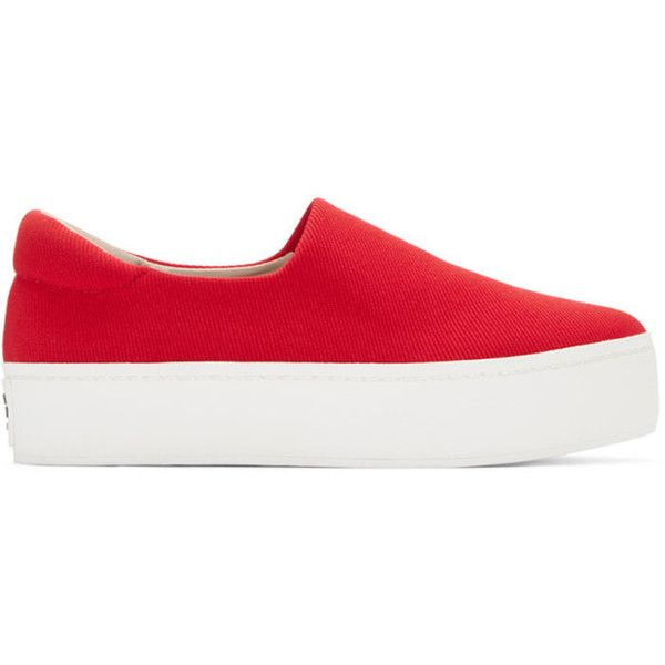 Opening Ceremony Red Platform Slip-On Sneakers (295 CAD) ❤ liked on Polyvore featuring shoes, sneakers, red, opening ceremony shoes, platform shoes, round cap, platform trainers and red trainers