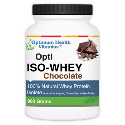 Optimum Health Vitamins Opti-Iso Whey Chocolate (100% Whey Protein Isolate) - No artificial ingredients, GMO-Free!