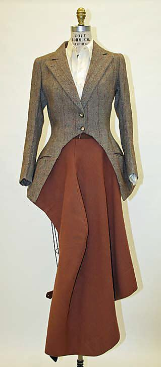 "Riding Ensemble: ca. 1937, wool, cotton, silk, leather, wood.    Marking: [label] (c) ""Roberts & Carrol, Ltd, London"" [label] (d) ""Abercrombie and Fitch"" [label] (e)""Palm Beach, owned and operated by Goddall Worsted Co., F.R. Tripler & Col, N.Y. [label] (n) ""Cavanagh, N.Y."" [label] (hij, klm) ""Maxwell, London"""