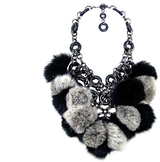 Jewellery by Karen black and pewter tone bib necklace with rabbit fur.  Details: http://jewellerybykaren.com/boutique/necklaces/necklace-973n