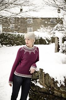Knitted seamlessly with only grafts where the sleeves meet the raglan-shaped shoulders, this bottom-up pullover is accented with a stranded yoke, corrugated ribbing, and edging in a contrasting colorway. The instructions include helpful photographs on how to graft the pieces together for those who need it.