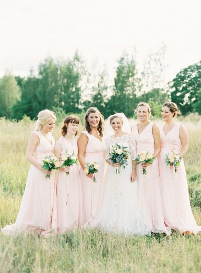 Blush bridesmaids: http://www.stylemepretty.com/2015/02/05/romantic-cultural-infused-swedish-wedding/ | Photography: 2 Brides - http://2brides.se/
