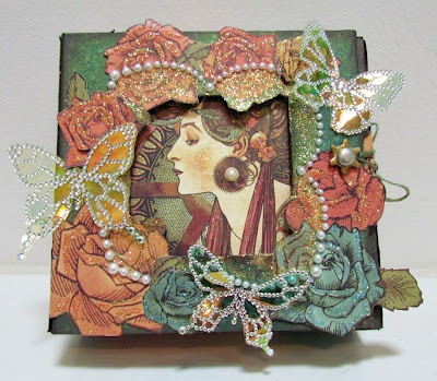 Laura from the blog Remembering Life's Moments created this absolutely breathtaking 5x5 altered art box using Steampunk Debutante, Want2Scrap, and Art Glitter. Beautiful!! #graphic45 #artglitter #want2scrap