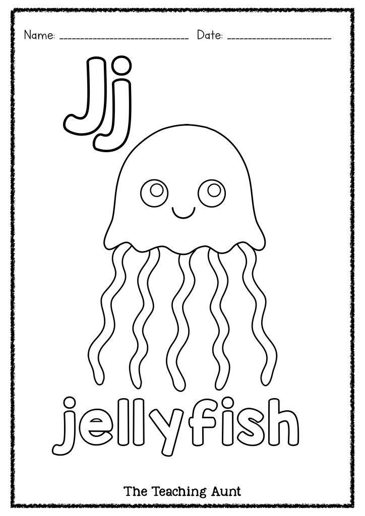 J Is For Jellyfish Art And Craft The Teaching Aunt Letter A Crafts Alphabet Letter Crafts Alphabet Worksheets Preschool