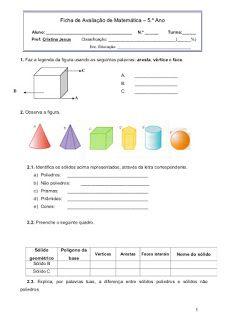 prova solidos geometricos 5 ano