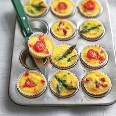 Crustless mini quiche. The recipe calls for broccoli and cheddar, but can sub asparagus, cherry tomato, mushroom, bacon, gruyere, swiss, brie, etc. Maybe add some onion or garlic powder to egg mixture.         Crustless Mini Quiches Recipe  at Epicurious.com