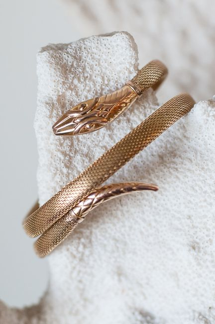 Early 1900s Rolled Gold Snake Bracelet - Germany