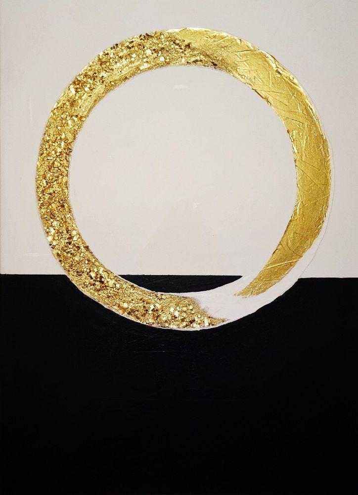 Bemutatom a D'ORO kiállítás eslő festményét. Egyszerű formák és színek találkozása. Az arany egyedi textúrán különleges hatást kelt. Elegáns lakás dísze lehet. Méret: 50x70 cm Megrendelhető: www.arttemi.hu / D'ORO 1