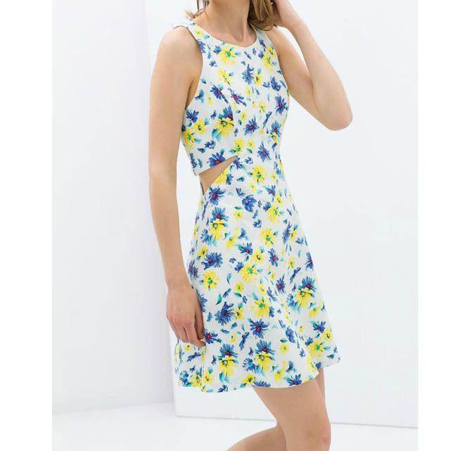 Платье полые без рукавов контейнер, дизайнеры марки женщины цветочный печать платья талия платья приталенный Клубная одежда вечернее EA962