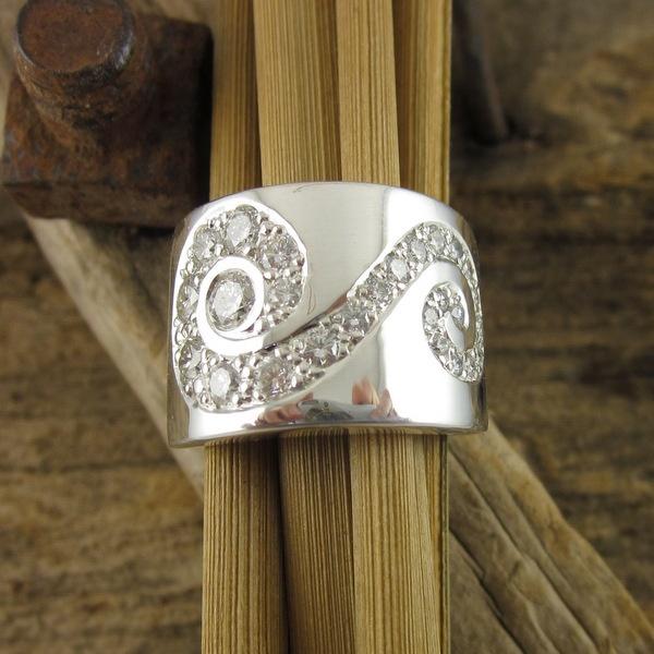 Wide Diamond Set Scroll Ring   Geoff Taylor Goldsmith