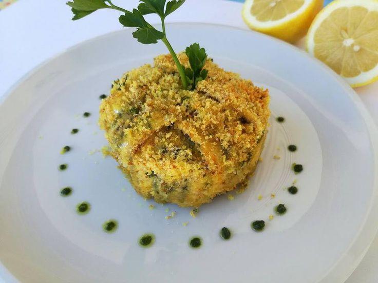Tortino di Alici marinate con Clorofilla di Prezzemolo (Montersino)