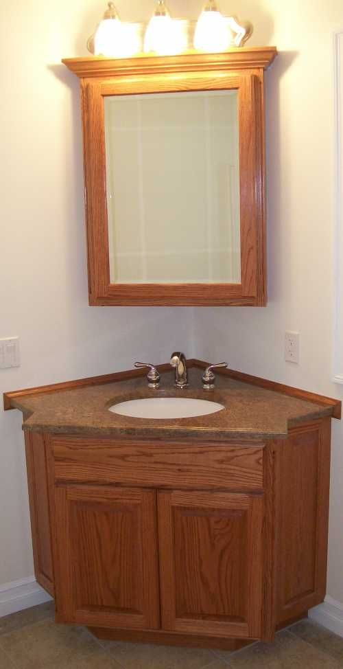 Cool Corner Bathroom Vanity With Wooden Cabinets And Hidden Light