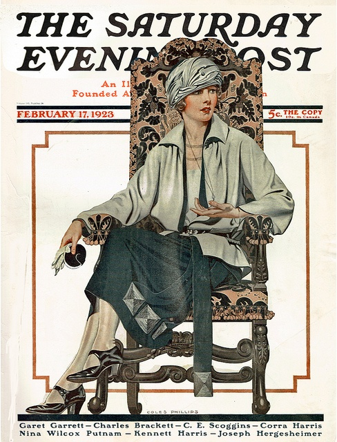 Woman in an ornate chair    Cover by Coles Phillips for the Saturday Evening Post, Feb 17 1923. This one has sun damage on the middle of the skirt but is still lovely in my eyes!