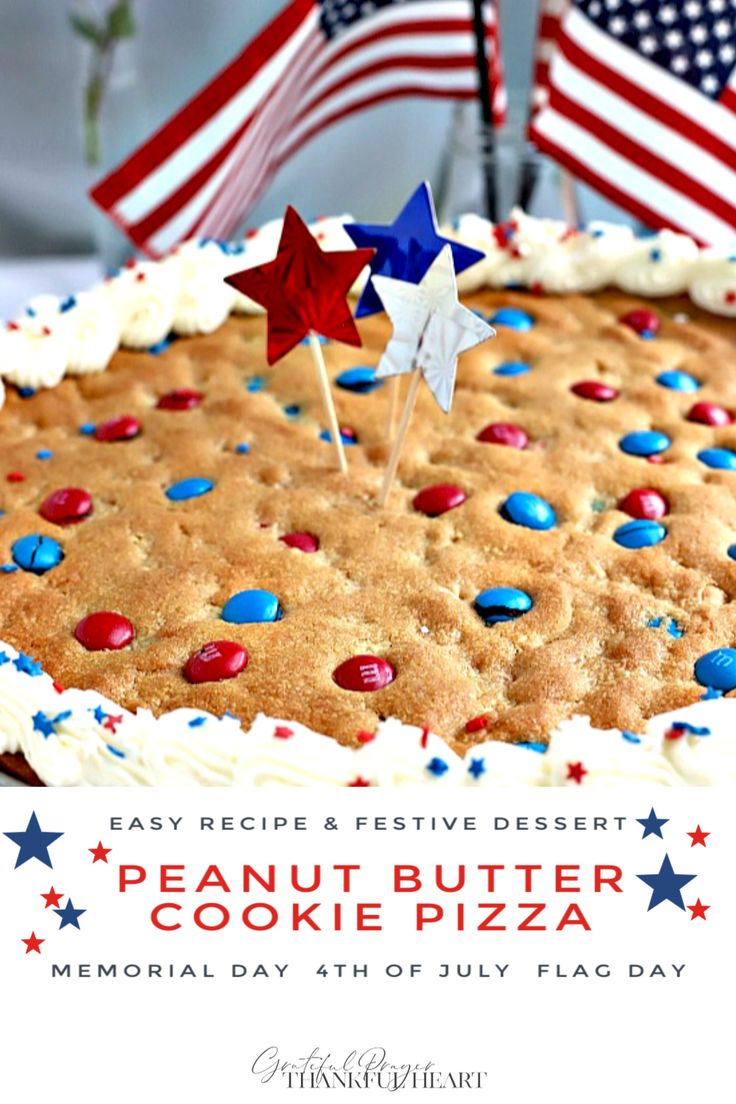 Quick, easy and festive, giant patriotic peanut butter cookie pizza is a simple recipe the whole family will love for 4t…